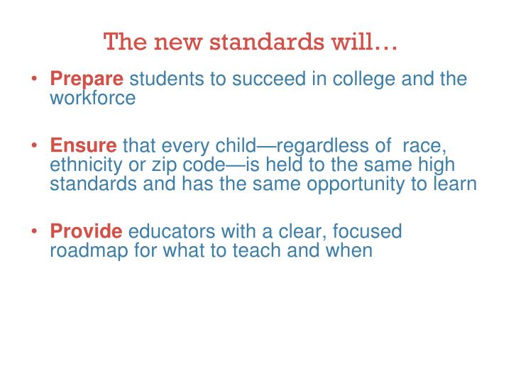 The new standards will…