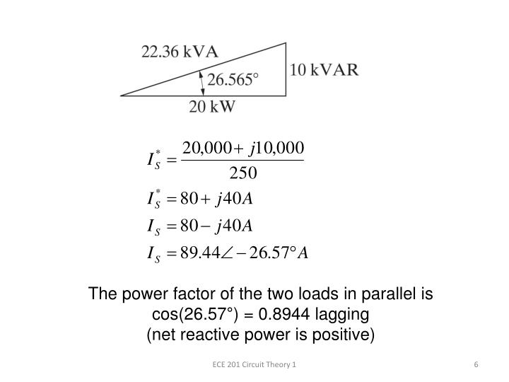 The power factor of the two loads in parallel is cos(26.57°) = 0.8944 lagging