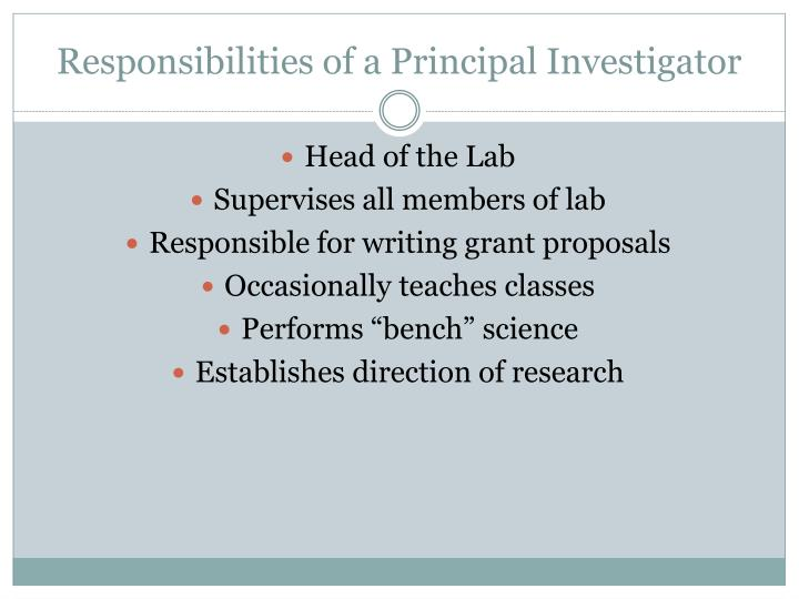 Responsibilities of a Principal Investigator