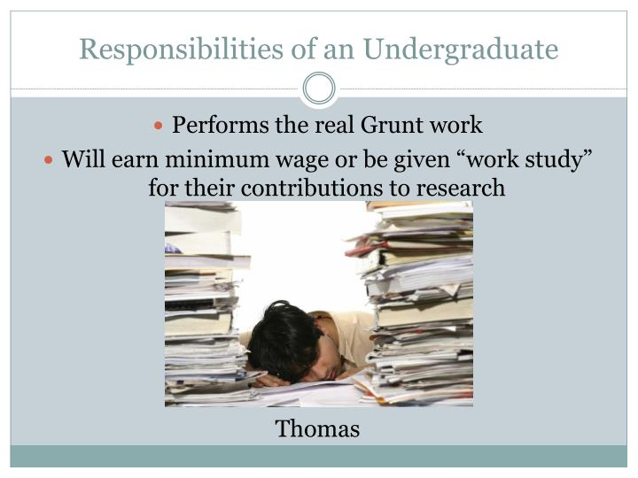Responsibilities of an Undergraduate