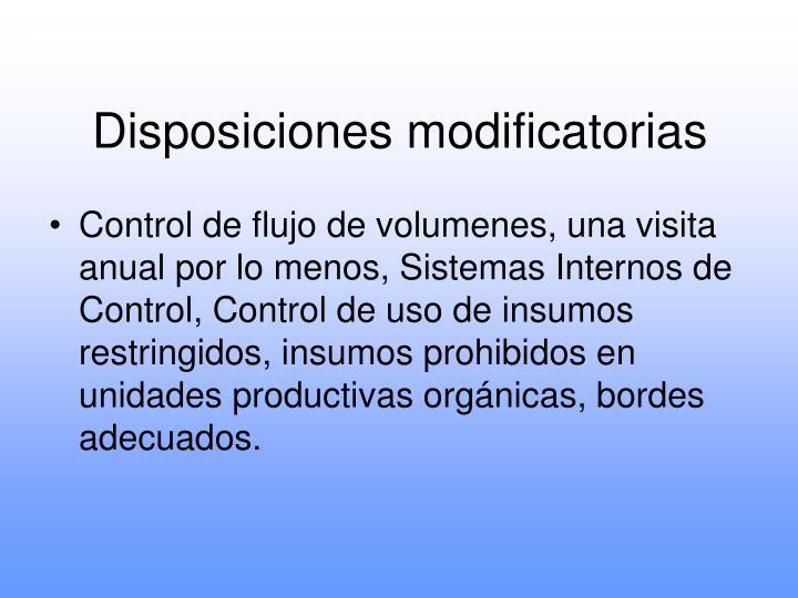 Disposiciones modificatorias