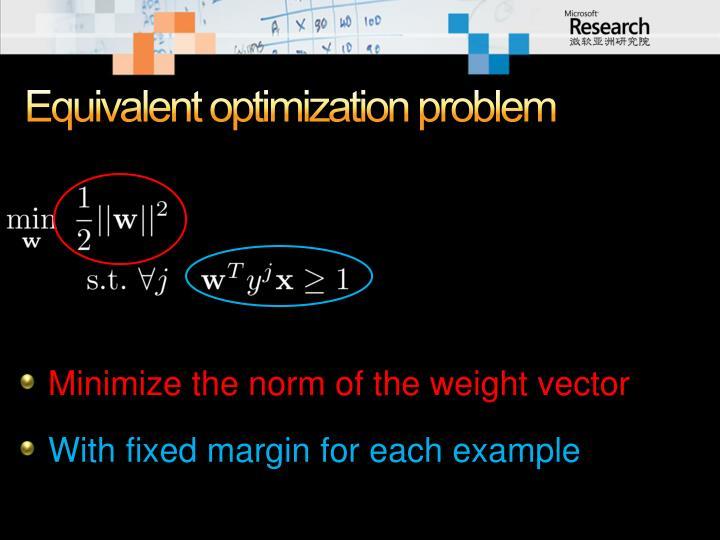 Equivalent optimization problem