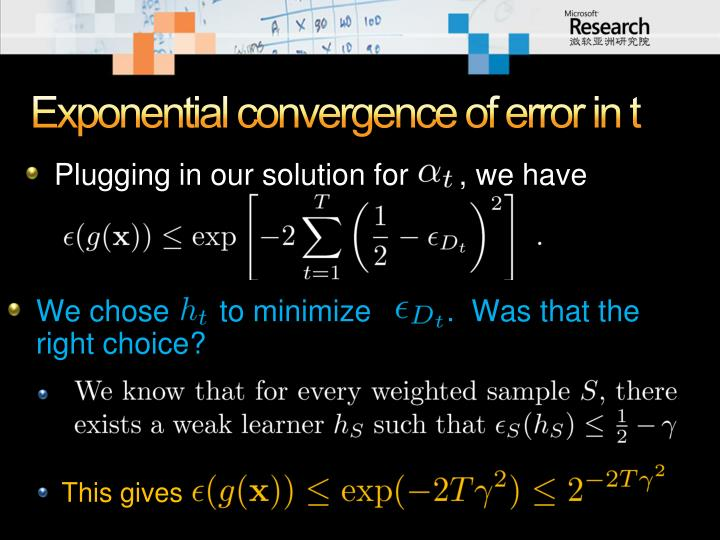 Exponential convergence of error in t