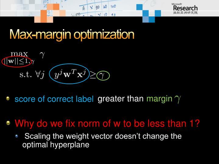 Max-margin optimization