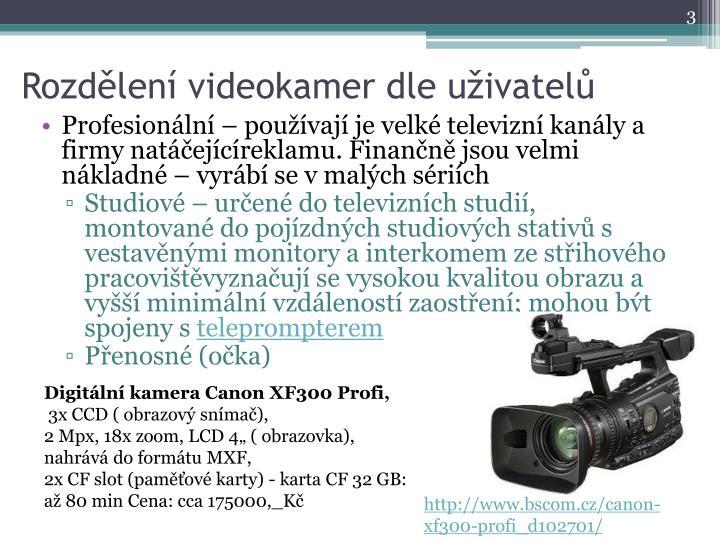 Rozdělení videokamer dle uživatelů