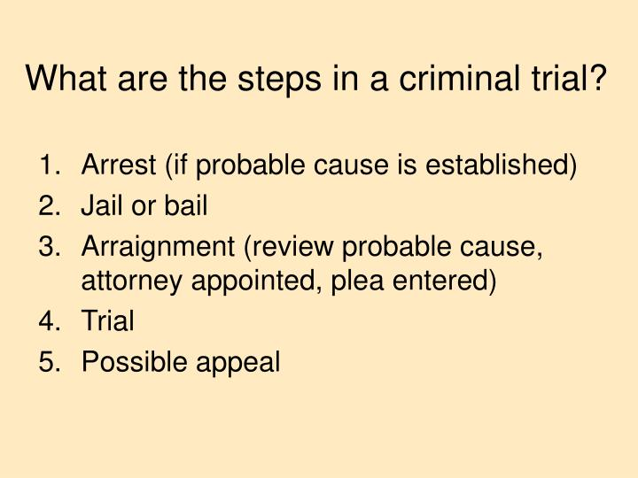 What are the steps in a criminal trial?
