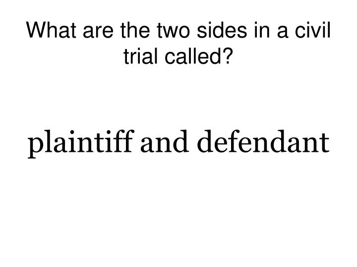 What are the two sides in a civil trial called?