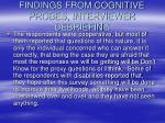 findings from cognitive probes interviewer debriefin g