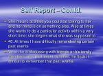 self report contd
