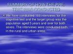 summary of how the pre test was conducted