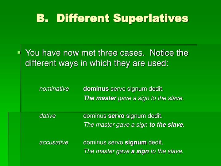 Different superlatives