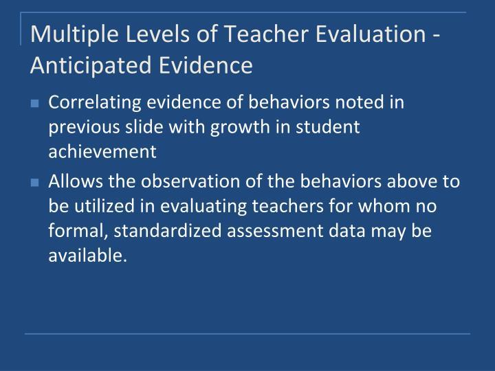 Multiple Levels of Teacher Evaluation -Anticipated Evidence