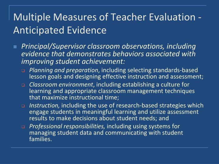 Multiple Measures of Teacher Evaluation - Anticipated Evidence