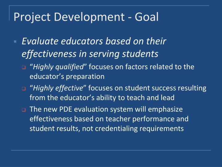 Project Development - Goal