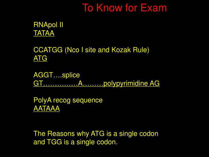 To Know for Exam