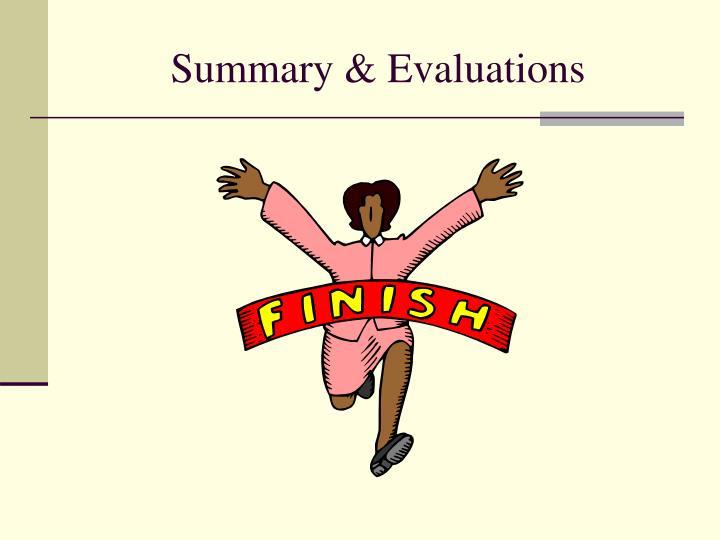Summary & Evaluations