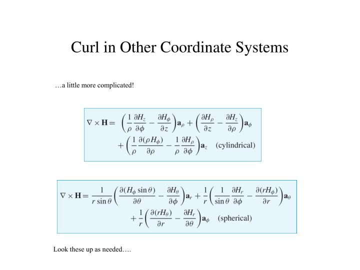Curl in Other Coordinate Systems