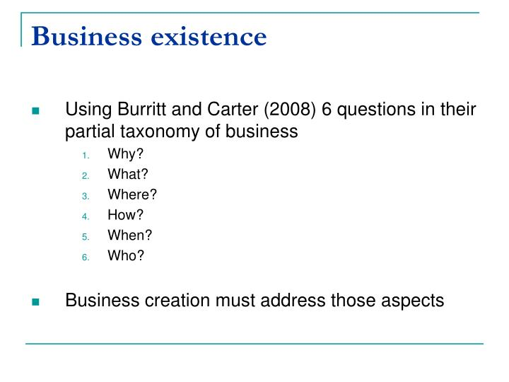 Business existence