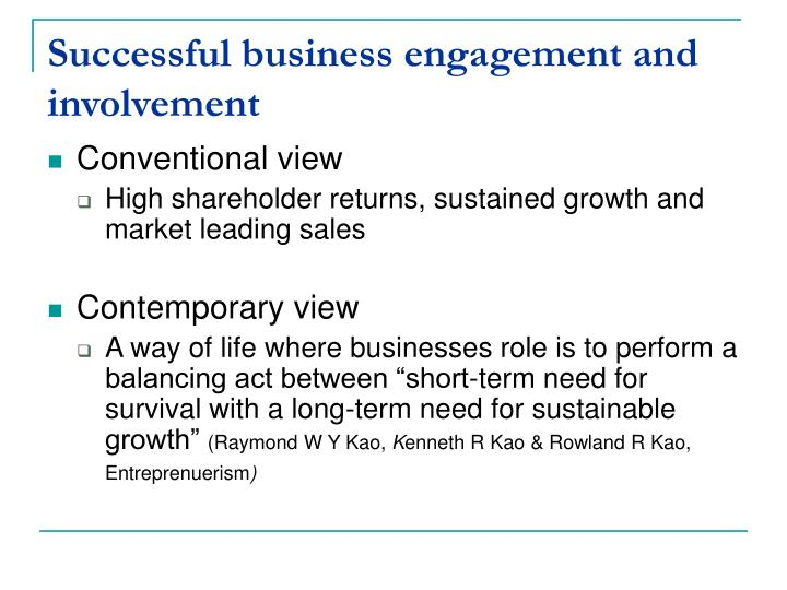 Successful business engagement and involvement