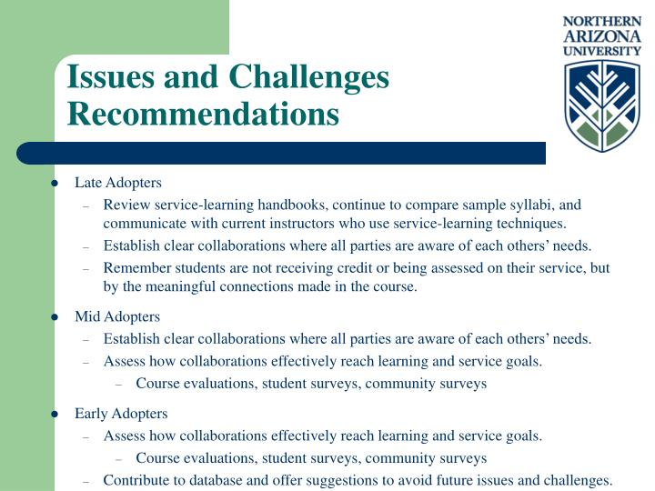 Issues and Challenges Recommendations
