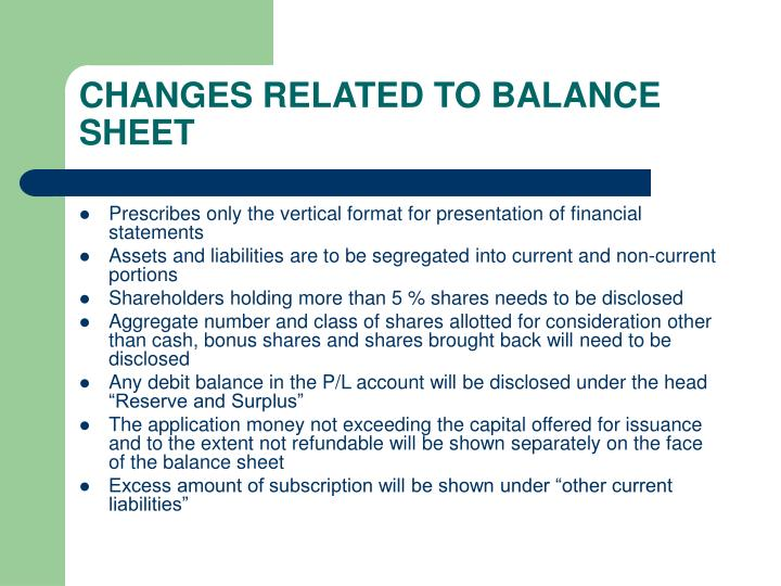 CHANGES RELATED TO BALANCE SHEET