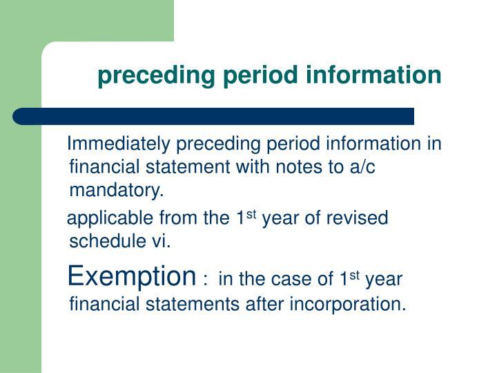 preceding period information