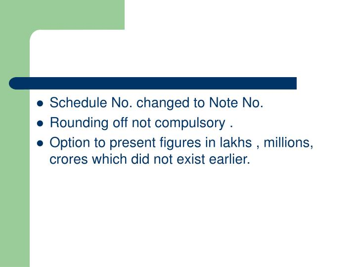 Schedule No. changed to Note No.