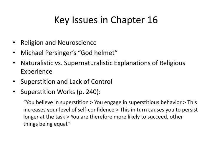 Key issues in chapter 16