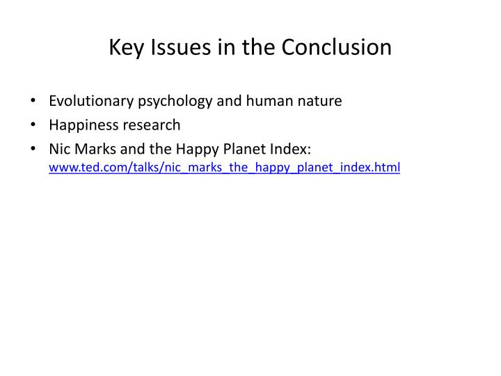 Key Issues in the Conclusion
