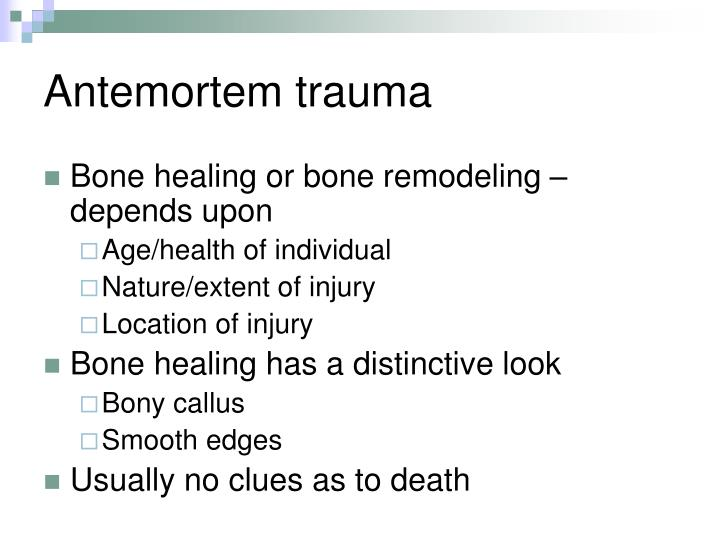 Antemortem trauma