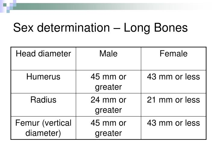 Sex determination – Long Bones