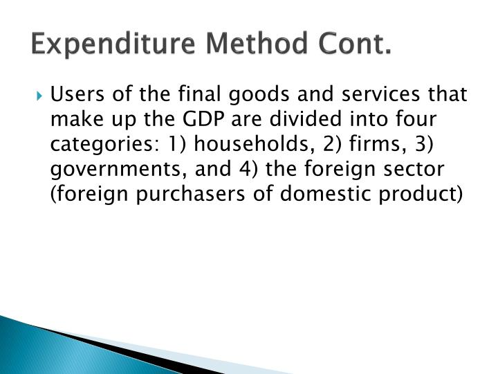 Expenditure Method Cont.