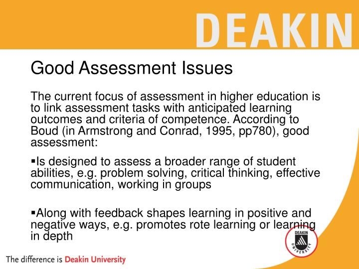 Good assessment issues