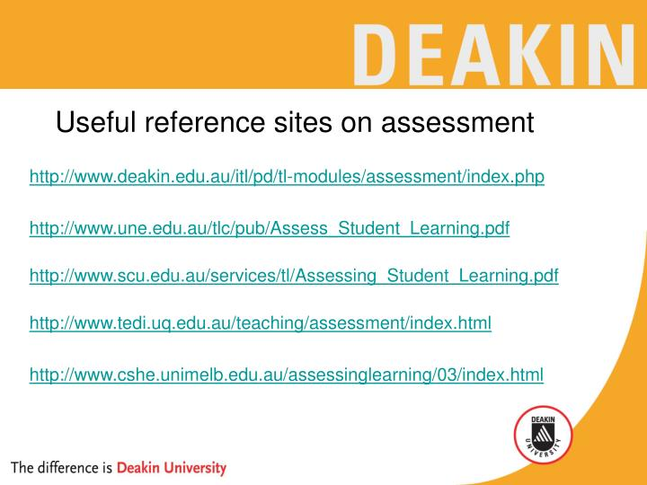 Useful reference sites on assessment