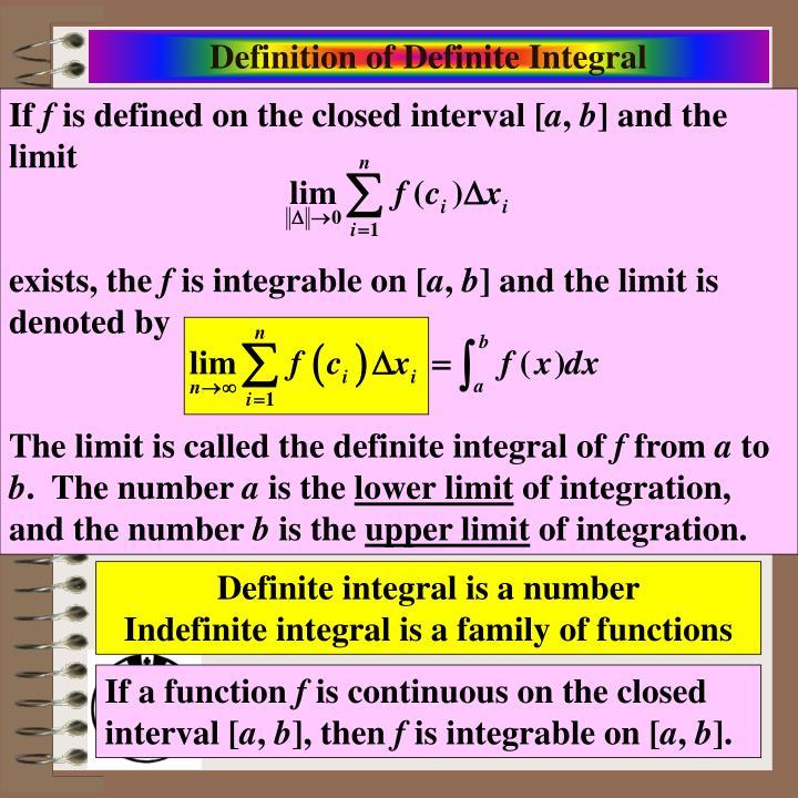 Definition of Definite Integral