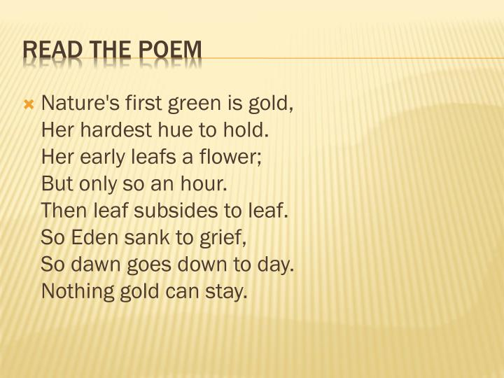 Nature's first green is gold,