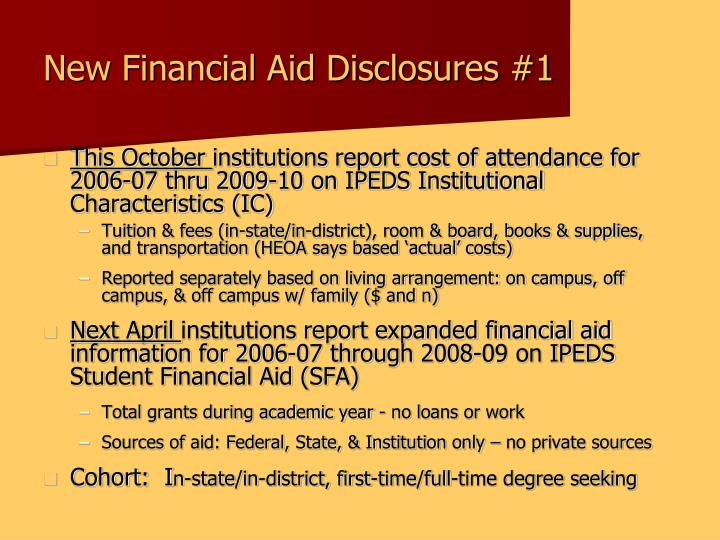 New Financial Aid Disclosures #1