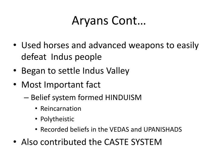 Aryans Cont…