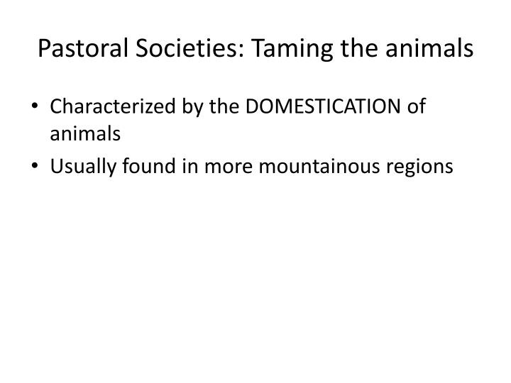 Pastoral Societies: Taming the animals