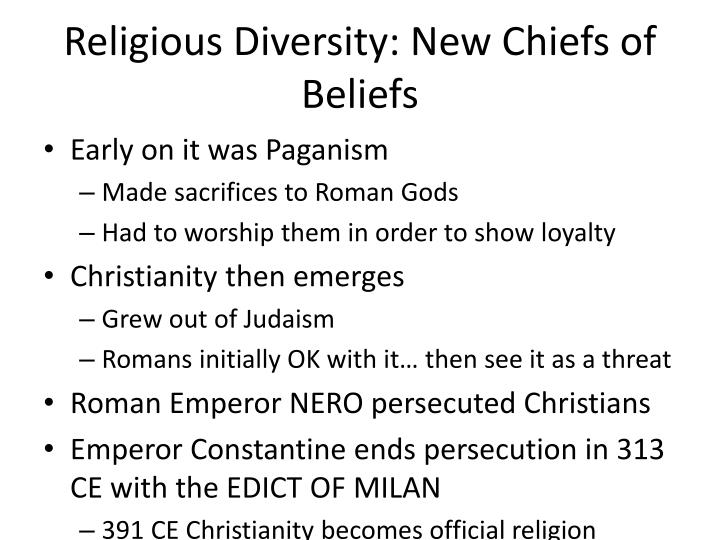 Religious Diversity: New Chiefs of Beliefs