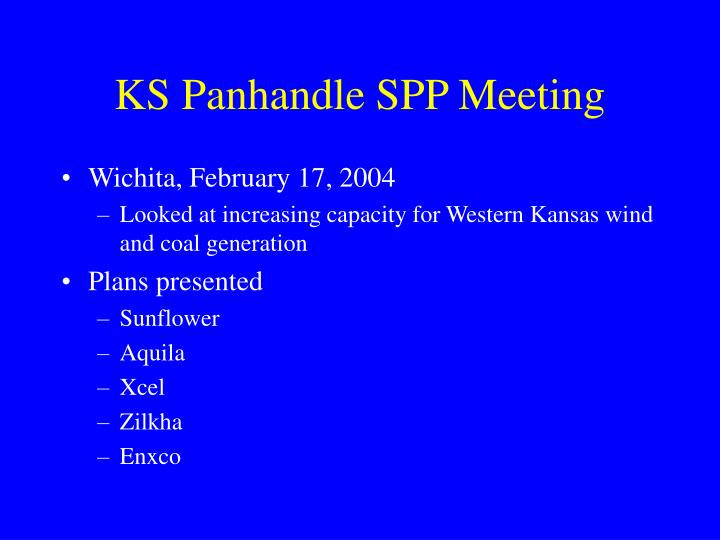 KS Panhandle SPP Meeting