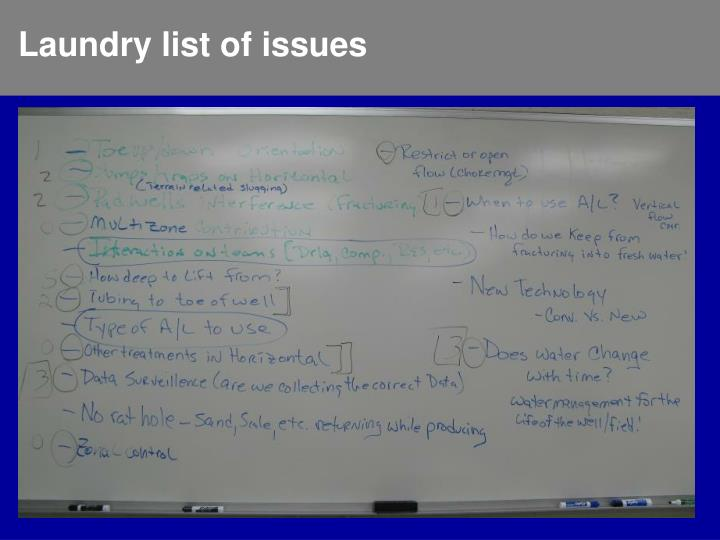 Laundry list of issues