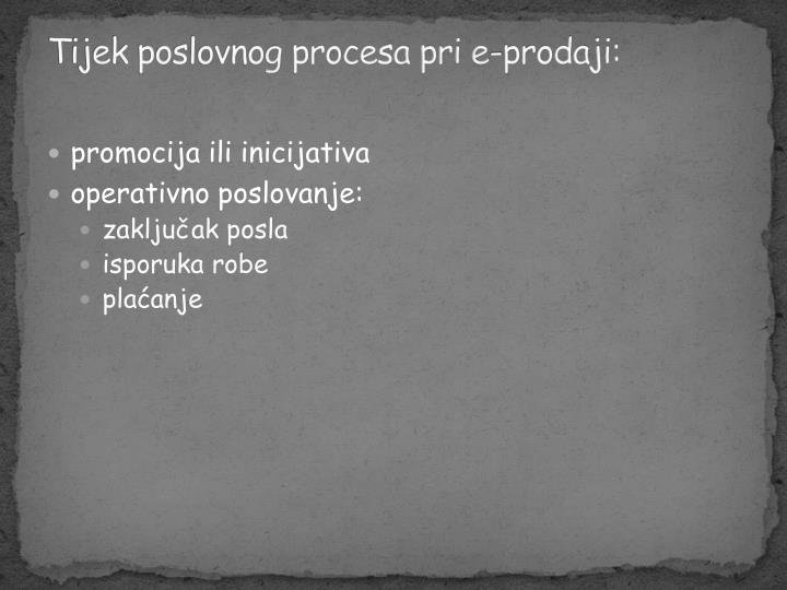 Tijek poslovnog procesa pri e-prodaji: