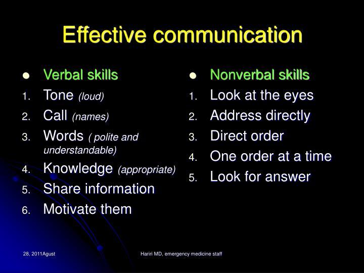 Verbal skills