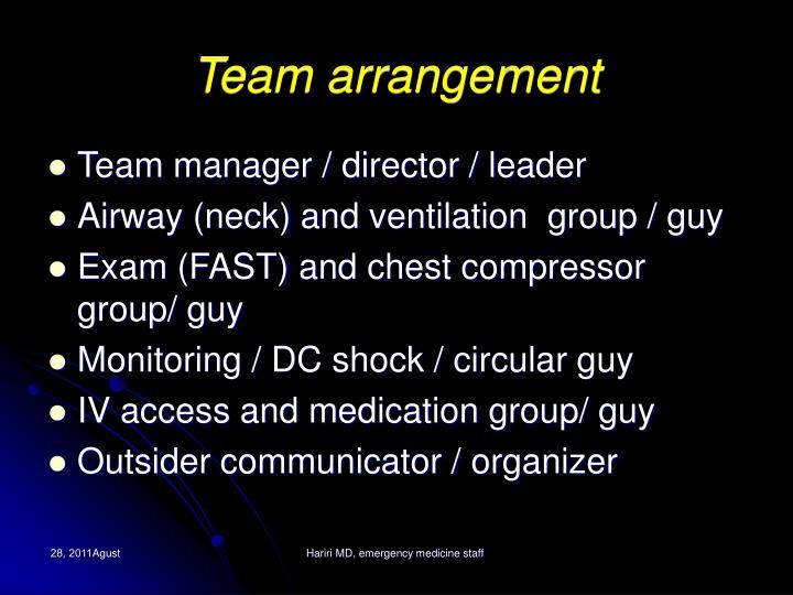 Team arrangement