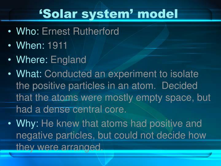 'Solar system' model