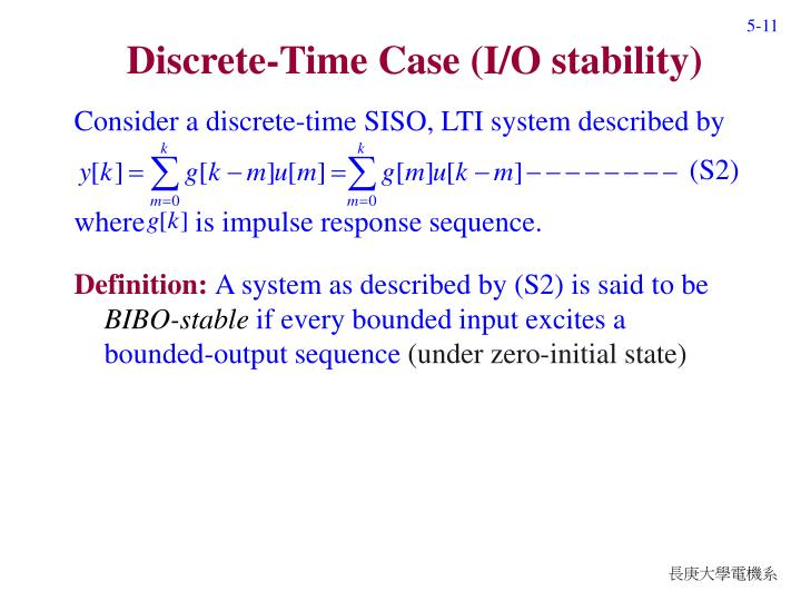 Discrete-Time Case (I/O stability)