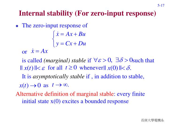 Internal stability (For zero-input response)