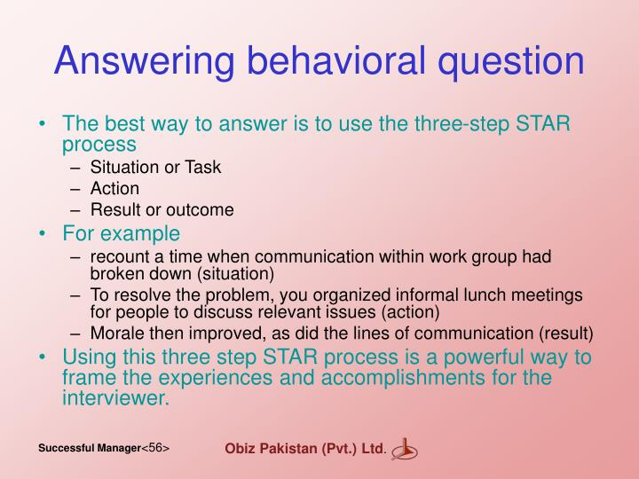 Answering behavioral question
