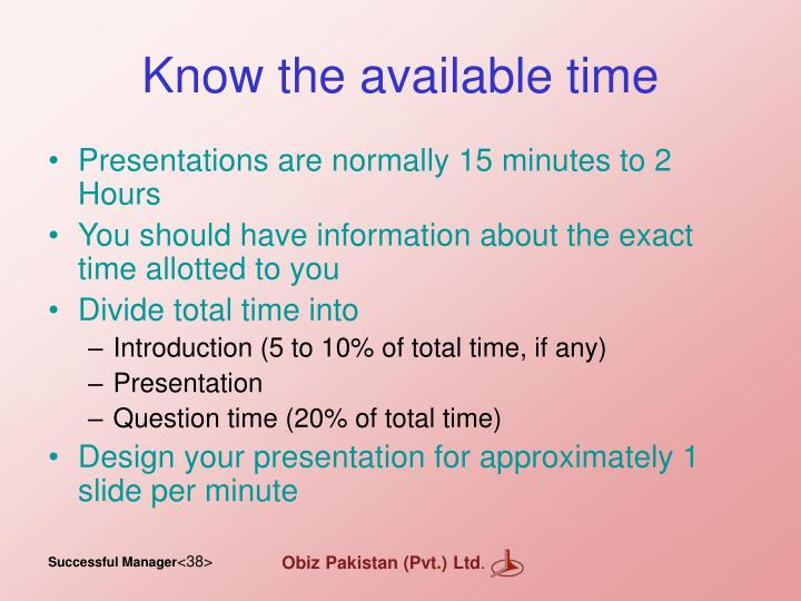 Know the available time